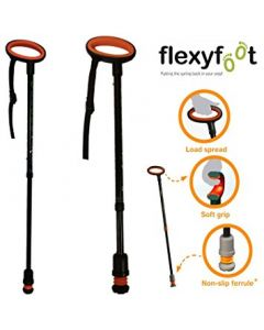 Flexyfoot Adjustable Walking Stick with Oval Handle -Black