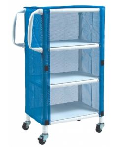 PVC Linen Cart With Cover - Small 3-Shelf