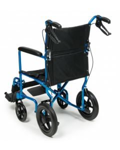 "Deluxe Aluminum 12"" rear wheel Transport Chair"