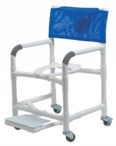 "Lumex 26"" PVC Bariatric Shower Commode Chair with Sliding Footrest"